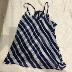 Love Culture Blue and White Strips open Back Top